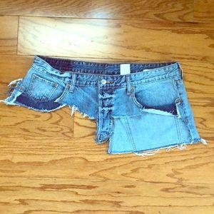 Custom denim jean waist belt 36 L XL H&M distress